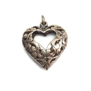 Vintage Sterling Silver Puffy Heart Pendant